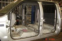 Southern Truck has removed all interior from this 2000 Ford F350 Superduty Crew Cab to remove all rust and prepare for the paint shop.