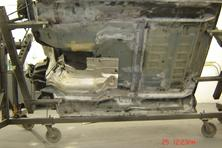 Sandblasted unwanted rust on underside of this 1997 F350 diesel 4 X 4 extended cab pick up truck.