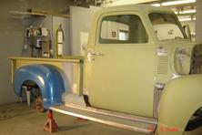 Running boards installed on this 1950 GMC pick up truck.