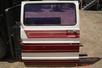 75 - 91 Ford Van Side Slider Door.  Nice condition, 2 small dings, 1 large window.  White exterior with red strips, red interior.